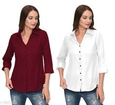 Checkout this latest Shirts Product Name: *Fashionable Contemporary Women's Polyester Solid Women's Shirts(Pack Of 2)* Fabric: Polyester Sleeve Length: Three-Quarter Sleeves Pattern: Solid Multipack: 2 Sizes: S, M, L, XL Country of Origin: India Easy Returns Available In Case Of Any Issue   Catalog Rating: ★3.8 (293)  Catalog Name: Fashionable Contemporary Women's Polyester Solid Women's Shirts Combo CatalogID_446822 C79-SC1022 Code: 405-3240580-1131