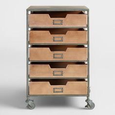 Wood and Metal 5-Drawer Frederick Rolling Cart - v1