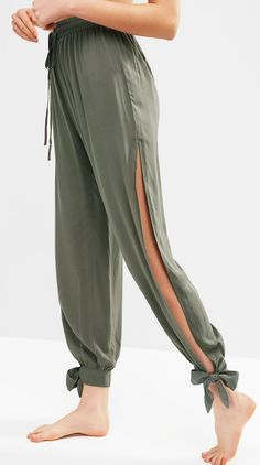 Cute Tie Ankle Split Pants tea green women summer pants Cover-Up Type: Pants Gender: For Women Material: Rayon Pattern Type: Solid Decoration: Slit Waist: High Waisted Season: Summer shorts shorts shorts shorts outfits shorts Baggy Pants, Cute Pants, Yoga Pants, Trousers, Look Fashion, Fashion Pants, Fashion Dresses, Sporty Fashion, Fashion Fall