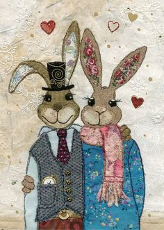 "Bug Art Greetings Card ""Rabbit Couple - Romance or just because - FREE UK p/p Bug Art, Cat Cushion, Fabric Cards, Free Motion Embroidery, Rabbit Art, Colorful Animals, China Painting, Textile Art, Fiber Art"