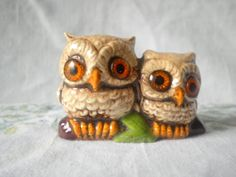 70s Owl Knick Knack, Itty Bitty Brown Owls, Vintage Kitsch Ceramic Figurine SOLD