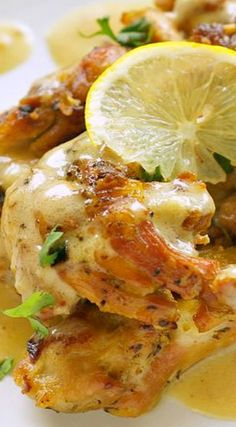 Slow Cooker Chicken Thighs with Creamy Lemon Sauce -- put some lemon sauce in the slow cooker at the end