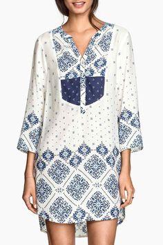 $16 Blue Print Irregular Hem Shirt Dress