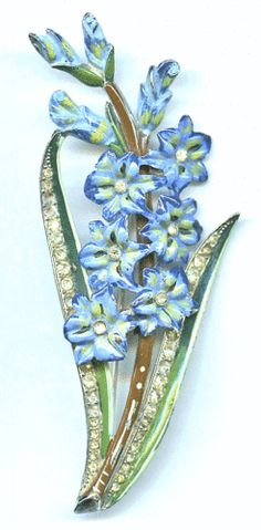 Vintage-1930s-Coro-Enamel-Rhinestone-Gladiolus-Floral-Spray-Brooch-Pin