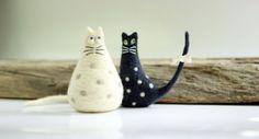 Black Cat White Cat - Set Of Two Needle Felt Cats - Needle Felt Art Dolls