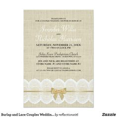 Burlap and Lace Couples Wedding Shower Invitation