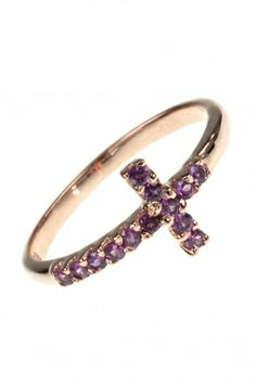 delicate and elegant yet powerfully symbolic, this rosé gold plated cross ring is adorned with sparkling prong-set #amethyst #gems I NEWONE-SHOP.COM