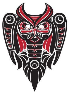 the OwL totem Haida Kunst, Arte Haida, Haida Art, Native Tattoos, Tribal Tattoos, Cool Tattoos, Native American Design, Native Design, Haida Tattoo