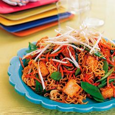 Lo Mein with Tofu, Snow Peas, and Carrots