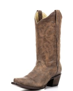 <p>These vintage-inspired boots feature a tan distressed leather foot and matching distressed leather shaft. Modern snip toe with genuine leather upper, lining, insole, & sole. Single stitched welt construction. Corral presents a pair of boots any cowgirl would be proud to own!</p>