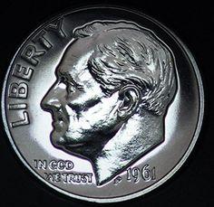 1961 P Roosevelt Dime 10 Cents 1961-P PR-70 DCAM PROOF DEEP CAMEO Dime PR-70 DCAM PROOF DEEP CAMEO Fiduciary Grading