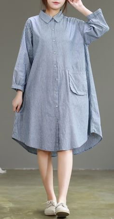 Classy blue linen clothes Fine Sewing lapel collar daily striped DressCustom make service available! Please feel free to contact us if you want this dress custom made. Materials used: linenMeasurement: One size fits a Linen Dresses, Cotton Dresses, Simple Dresses, Casual Dresses, Dress Outfits, Fashion Dresses, Iranian Women Fashion, Casual Wear Women, Mode Hijab