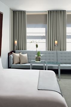 Bed are recessed slightly into the wall, creating a canopy overhead | Royalton New York (New York City, New York) - Jetsetter