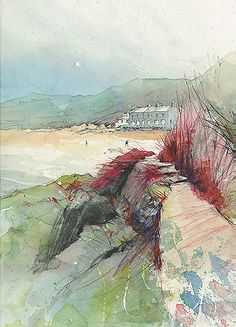 Morfa Nefyn, North Wales. Line and wash (pen and watercolour) and watercolour pencils. Giclée print on Heavyweight matt paper by Ken Hurd