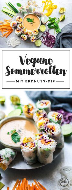 Vegan summer rolls with peanut chili dip- Vegane Sommerrollen mit Erdnuss-Chili-Dip Roller Derby? I could give you more flat roll jokes around your ears … - Chili Dip, Veggie Recipes, Vegetarian Recipes, Healthy Recipes, Peanut Recipes, Dinner Recipes, Healthy Lunches, Brunch Recipes, Summer Recipes