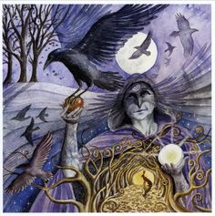 "Crow Woman ~ Wendy Andrew ""Cawing Crows calling, On gusty Autumn Breeze. Goddess sent guides Swirl round leaf-letting trees. The apple of life Returned to the Earth, From darkness to light And the gift of re-birth."""