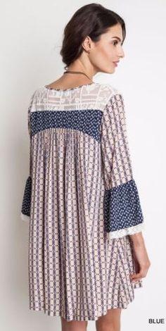 Umgee-Printed-3-4-Bell-Sleeve-Dress-Bohemian-Boho-Gypsy-Blue-Taupe-A1286 #UNIQUE_WOMENS_FASHION