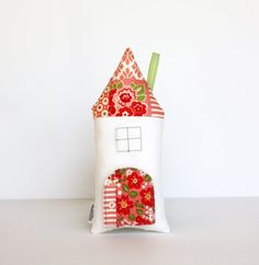 Tooth Fairy Pillow Coral Pink Patchwork Cottage by AppleWhite, $27.00