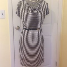 """❤️Calvin Klein great travel dress. Blue and white stripped dress:  great to roll up and pack.  No need to iron.  Great for travel.  Three gold buttons on each sleeve.  Nice black thin belt with small gold buckle.  Very comfortable dress. ⚓95%rayon 5% spandex ⚓easy care: machine wash cold/tumble dry ⚓shoulder to hem 35"""" ⚓belt 36"""" ⚓waist seam to seam 16"""" ⚓Wide neck line smoke free ❌PP ❌trades ✅F͏͏a͏͏s͏͏t͏͏  ✅accept reasonable offers Calvin Klein Dresses"""
