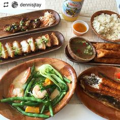 🔊This is a serious order!! Not for the feint of heart. If this doesn't get you drooling....😏💦  __________________________  #Repost @dennisjtay with @instatoolsapp ・・・  Beautiful, traditional Filipino food done right at @lasabylamesa. Delicious lunch. BBQ, Lechon kawali, bangus, ginataang hipon, lumpia shanghai, spicy mango hot sauce, and you can't forget the garlic rice. On point. 🙏🏽🙏🏽🙏🏽🇵🇭🇵🇭🇵🇭@dangerousyanyan #filipinofoodmovement Filipino Food, Filipino Recipes, Lumpia Shanghai, Lechon Kawali, Hot Sauce, Spicy, Garlic, Bbq, Mango