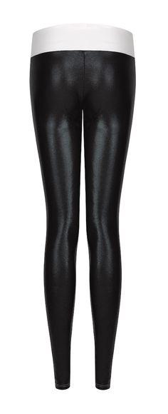 Suki Black and White Gloss Leggings Back #nightletes #sukininjas #sukileather  £95  http://sukishufu.com/product/suki-leatherback-long-leggings-black-white-gloss/