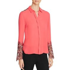 Elie Tahari Ramona Floral Lace Panel Silk Blouse featuring polyvore, women's fashion, clothing, tops, blouses, hot lava, floral silk blouse, silk top, floral silk top, floral print blouse and flower print blouse