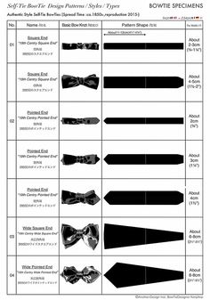 Self-Tie BowTie Styles Types Design Patterns,Authentic Types