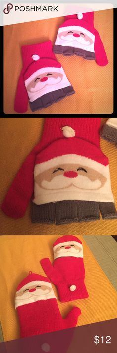 🆕 🎅🏽Santa Flip Top Gloves🎅🏽 🎅🏽 Oh What Fun! Santa Flip Top Gloves/Mittens. Girls & Women. OS. Both Colors of Red and Grey are visible as Fingerless Gloves. Also the mainly White Santa Face is only on the Front when they are Gloves. When you UnFlip them to Mittens, you will see a cheerful Santa Face on the Fronts & Backs of each Mitten. White Pom Pom on each Cuff. Made of mostly Acrylic. Brand New. Excellent Condition. No Trades. Capelli of New York Accessories Mittens