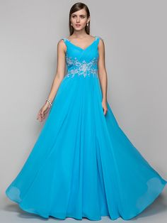TS Couture® Prom / Formal Evening / Military Ball Dress - Open Back Plus Size / Petite Sheath / Column V-neck Floor-length Chiffon with Appliques - USD $123.49