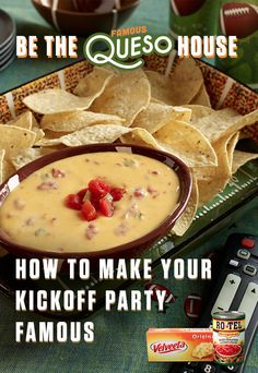 With queso this good, it will be hard to know if your guests are cheering for their team or your dip. All you need is the one-two kick of Ro*Tel's diced tomatoes and spicy green chilies plus some Liquid Gold Velveeta. Get more Famous Queso House essentials here: www.quesoforall.com