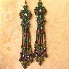 Beaded Macrame earrings-Goddess style-purple and green. $68.00, by Glassdancer via Etsy.