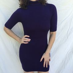 Stretch kniT purple sweater DRESS TUNIC turtleneck dark purple Stretch kniT sweater mini DRESS/TUNIC with 3/4 sleeves and turtleneck -  fitted and flattering! Wear with leggings, jeans or thigh high boots! Forever 21 Sweaters Cowl & Turtlenecks