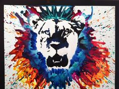 Lion, acrylic pain and melted crayon. See etsy page here: www.etsy.com/shop/MeltingMiltons and Like our Facebook page to see more: https://www.facebook.com/MeltingMiltons