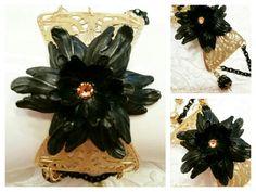 Mixed Metals Challenge Dec 15-Jan 16.  Satin matte gold and matte black.  Bloomin' Tulips line by Aurora Designs Jewelry.  Marcia Tuzzolino