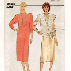 A Loose-Fit, Pullover Long Sleeve Straight Dress and Hip-Length Wrap Vest Sewing Pattern