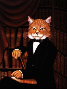 Intelligent Cat by Mark Hess Dressed Cat Books in Library Art Postcard | eBay