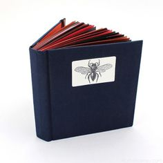 Handmade Wasp Journal by Ruth Bleakley - red and navy