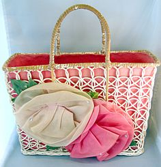 1950's wicker tote bag by DiannaCastnerTwo