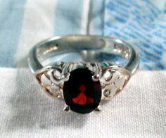 RING  RED  GARNET  Open Cut Side Hearts     Estate by MOONCHILD111, $19.95 https://www.etsy.com/shop/MOONCHILD111