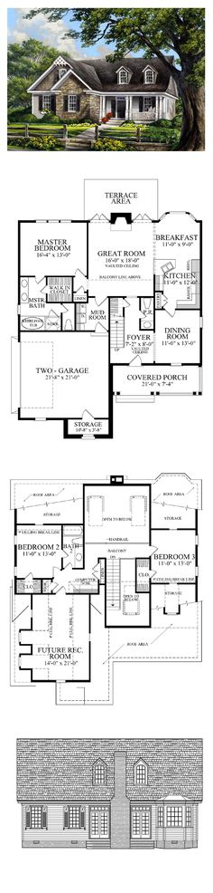 Country House Plans 86109 | Total Living Area: 2020 sq. ft., 3 bedrooms & 2.5 bathrooms. #houseplan #countrystyle