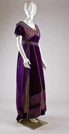 Dress, Evening  House of Worth  (French, 1858–1956)  Date: ca. 1910 Culture: French Medium: silk, cotton, metallic threads, glass