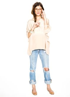 soft & feminine shirt with rugged worn pant & flats! great weekend outfit!