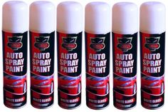 6 x 300ml White Gloss Auto Spray Paint Can Aerosol Interior & Exterior