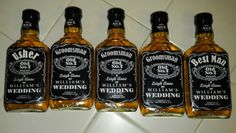 How my groom asked his attendants to be in our wedding using Jack Daniels bottles, photoshop, and mod podge