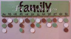Birthday Calendar Family BIrthdays Birthday Board.