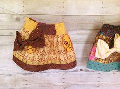 Girls' skirt with oversize bow, sunny bee trim - Little Bo Peep Skirt 12m/18m, 2T, $36.00, via Etsy.