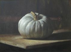 Available for sale from Cavalier Galleries, Sarah Lamb, White Pumpkin Oil on linen, 17 × 24 in Pumpkin Oil, Skull Pumpkin, Pumpkin Painting, Painting Still Life, Still Life Art, White Pumpkins, Painted Pumpkins, Sarah Lamb, Pumpkins For Sale