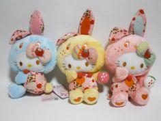 Hello Kitty plush Colorful bunnies Patchwork Style 3 Set (sanrio)