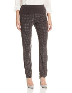 HALSTON HERITAGE Women's Embellished Silk Slim Pull On Pant, Charcoal, 0