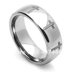 Free Shipping Cheap Price Jewelry USA Brazil Russia Hot Sales His/Her 8MM Dome Cross Engraved Tungsten Ring Mens Wedding Band #Affiliate